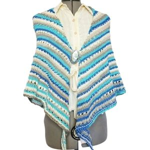 One Of A Kind Handknit Shawl With Antique Brooch